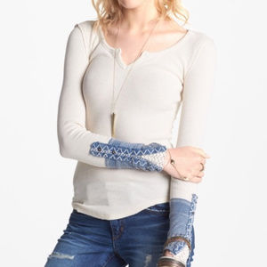 We the Free Blue Cuffed Kyoto Top M